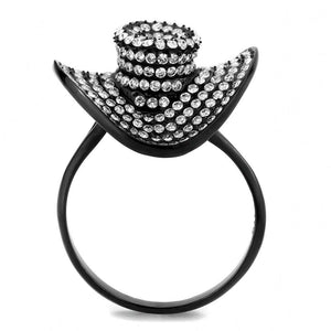 Women's Fun Fashion Hat Ring IP Black Stainless Steel & AAA CZ Sz 5-9 - Junkdrawercoolfinds.com