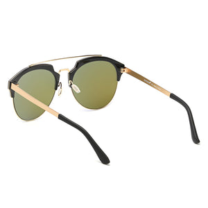 Unisex Half Frame Mirrored Lens Horned Rim Sunglasses Circle, 6 color choices