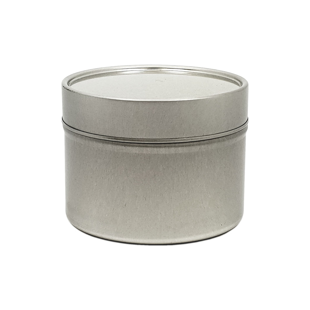 100ml Silver Round Candle Tin With Solid Slip Lid