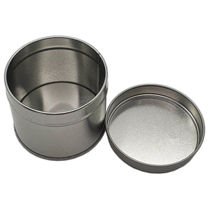 250ml silver welded seam tin with solid slip lid 250g lid off