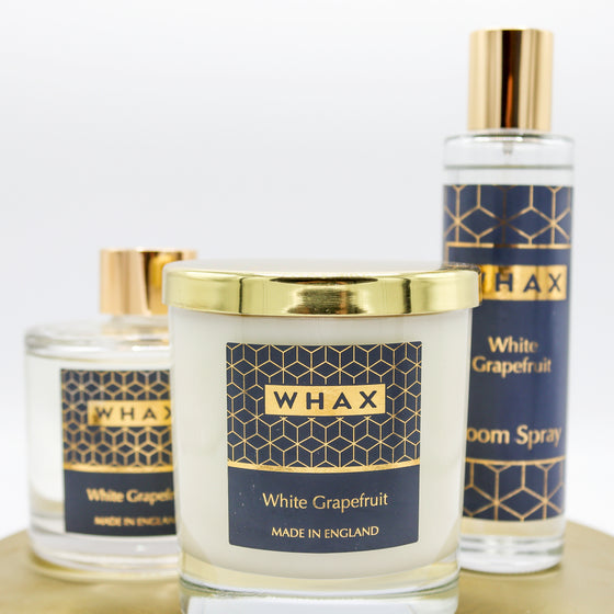white grapefruit scented candle | fragrance diffuser and room spray | whax.co.uk | gift for her