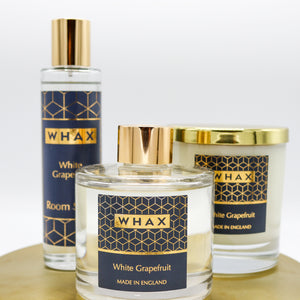 white grapefruit fragrance diffuser, candle and room spray | white grapefruit set | whax.co.uk