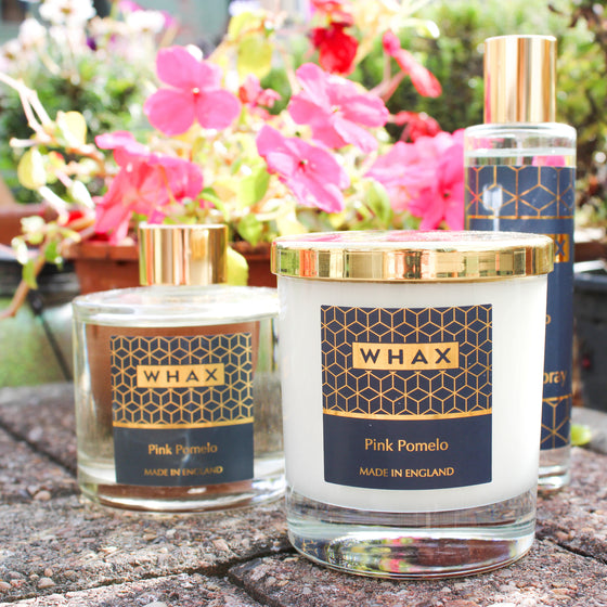pomelo room spray, scented candle and reed diffuser | whax.co.uk