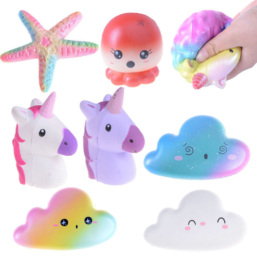 Squishy Jumbo Starfish Unicorn Cloud Super Slow Rising Stretchy Bread Phone Straps Charms Scented Kids Toys Gifts Wholesale