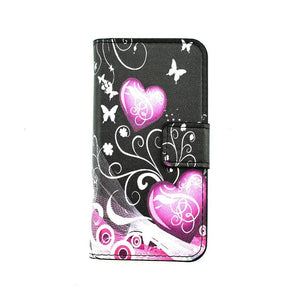 USA UK Flag Butterfly Plum Flower Cartoon Painting Flip Leather Wallet Cover Case For iPhone 5 5S SE 6 6S Plus 7 7 Plus 8 Plus X