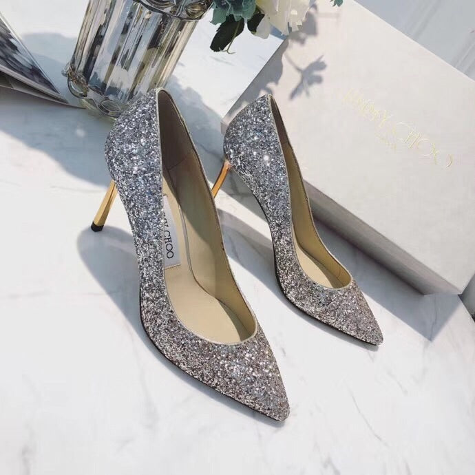 JIMMY CHOO GLITTER HEELS 65 85 mm