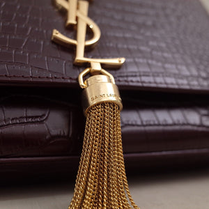 YSL KATE SMALL BAG WITH TASSEL CROCO EMBOSSED - vlixcogoods