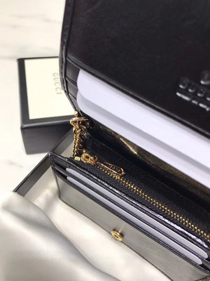 GUCCI RAJAH CHAIN CARD CASE WALLET