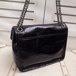 YSL MONOGRAMME FRONT FLIP ALLIGATOR PATTERN BAG