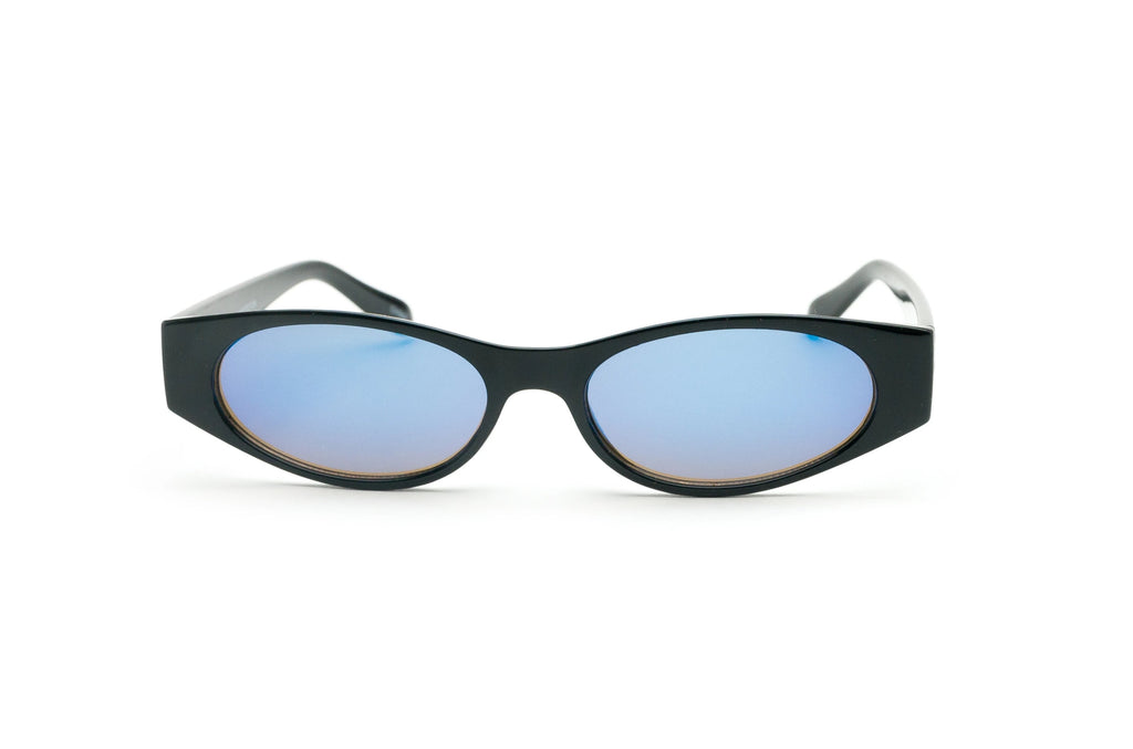 1990's Vintage Reflective Mirror Lens Slim Oval Sunglasses