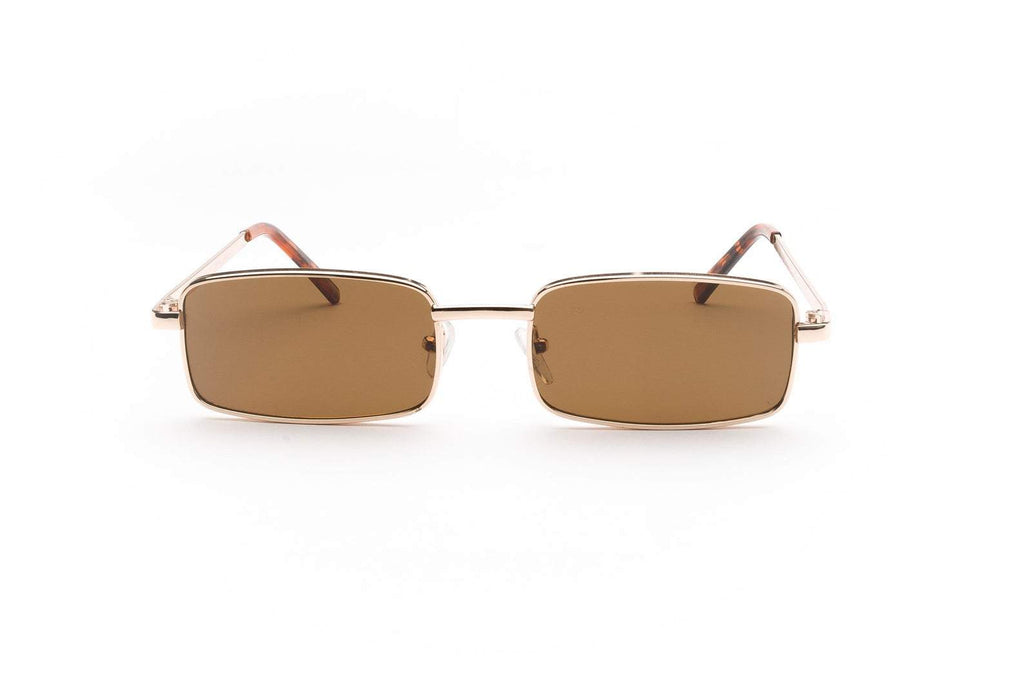 1990's Vintage Square Rectangle Metal Frame Grunge Sunglasses