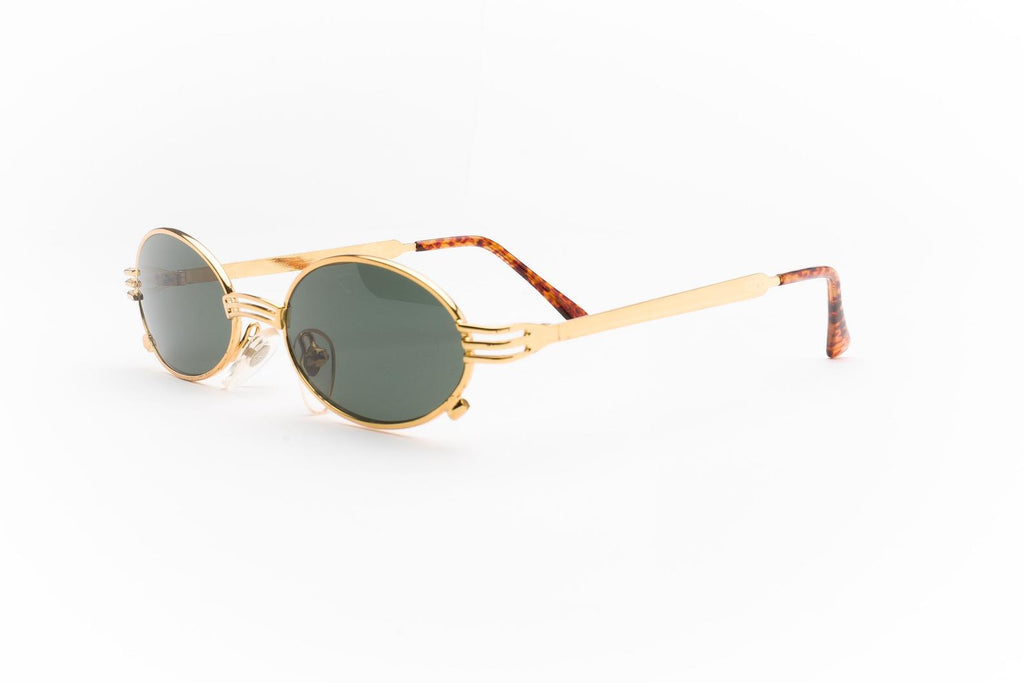 """River"" 1990's Vintage Round Oval Mini Metal Frame Sunglasses"