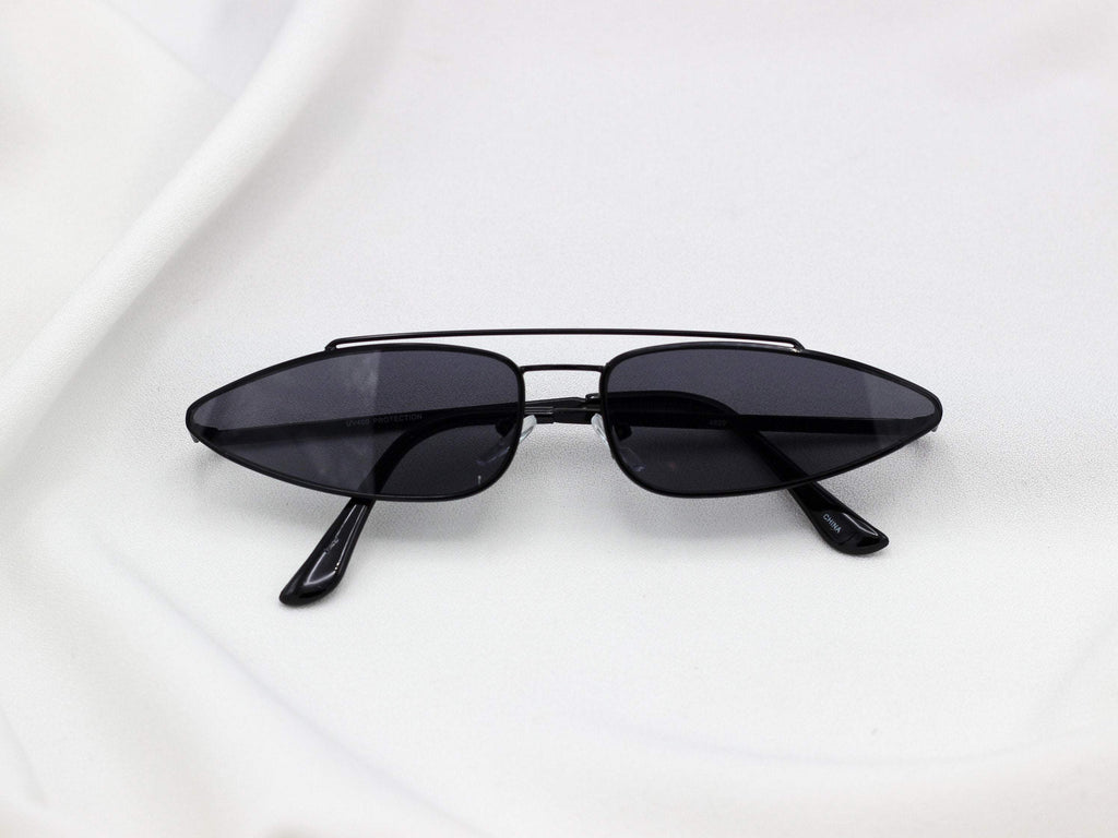 1990's Retro Pointy Cat Eye Triangle Metal Sunglasses