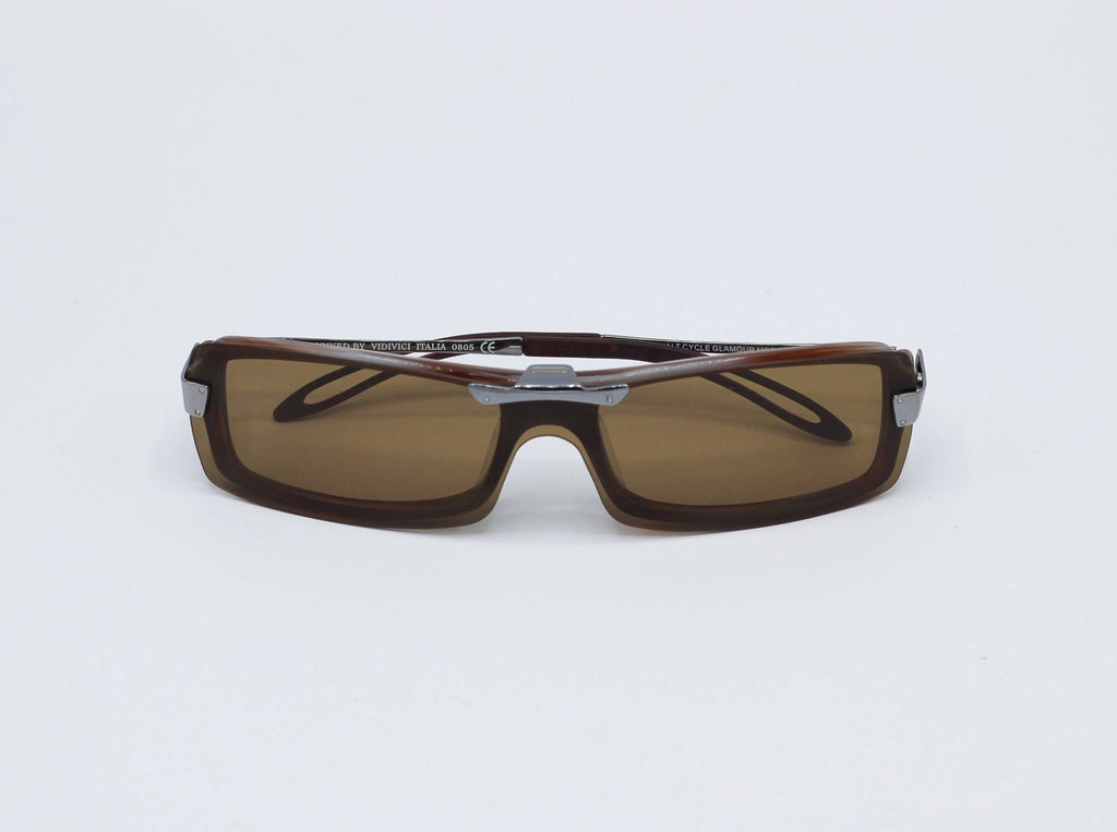 1990's Vintage Brown Clip On Slim Rectangle Clear Lens Sunglasses