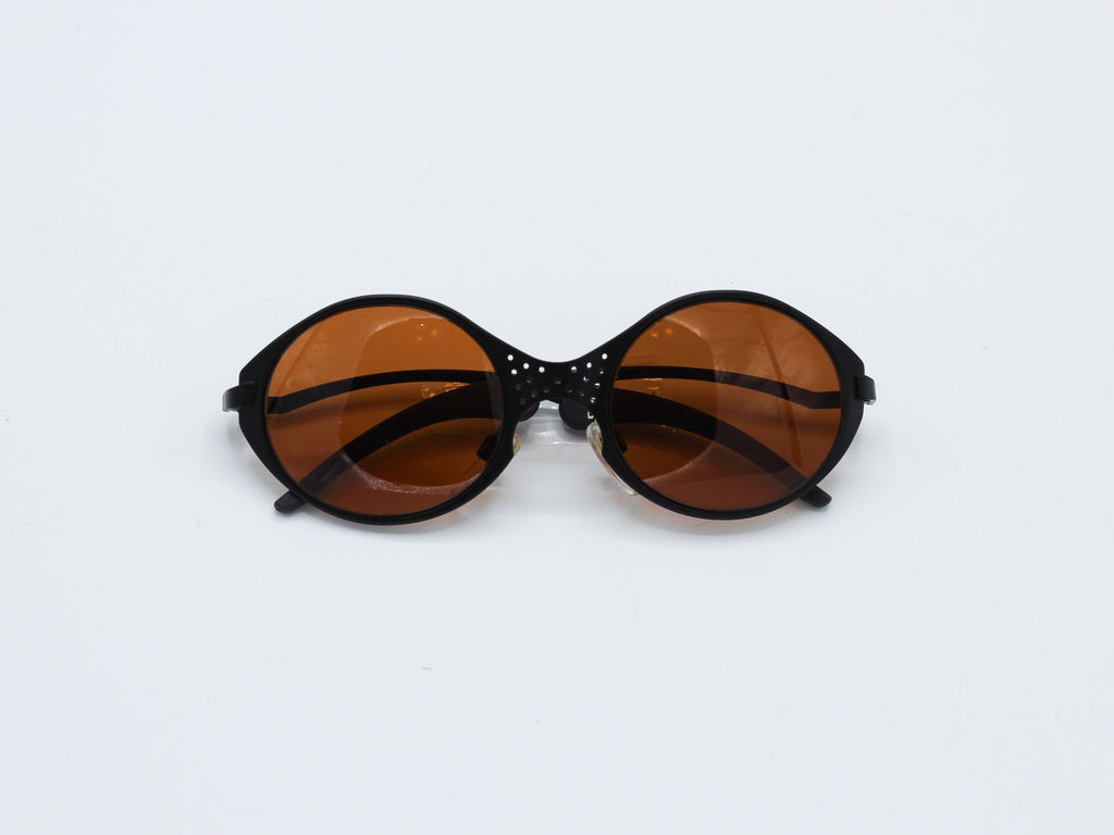 1990's Vintage Brown Matrix Steampunk Cosplay Bug-Eye Alien Round Sunglasses