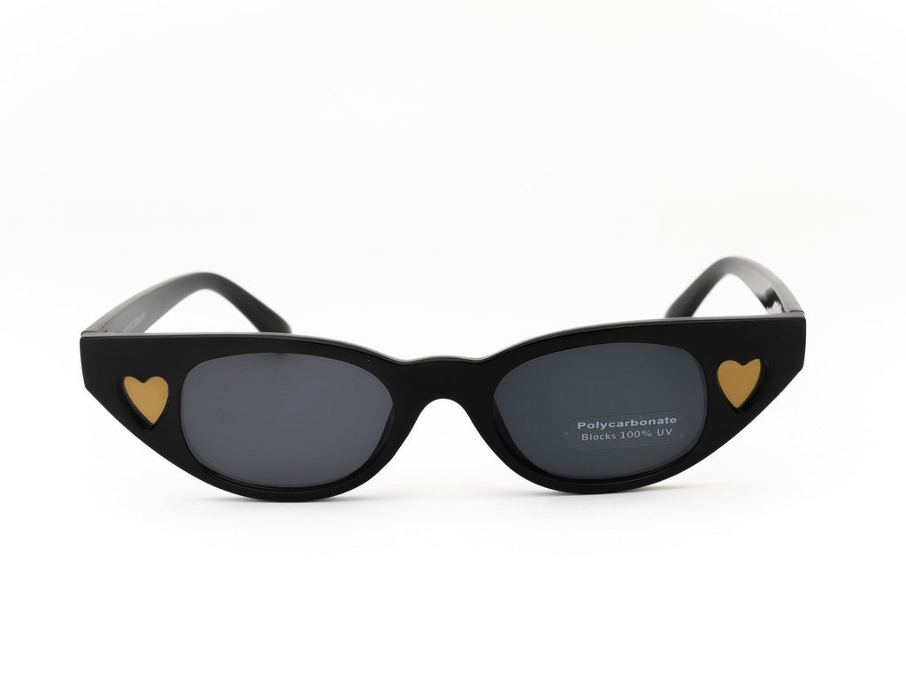 1990's Vintage Tinted Heart Pointy Cat Eye Sunglasses