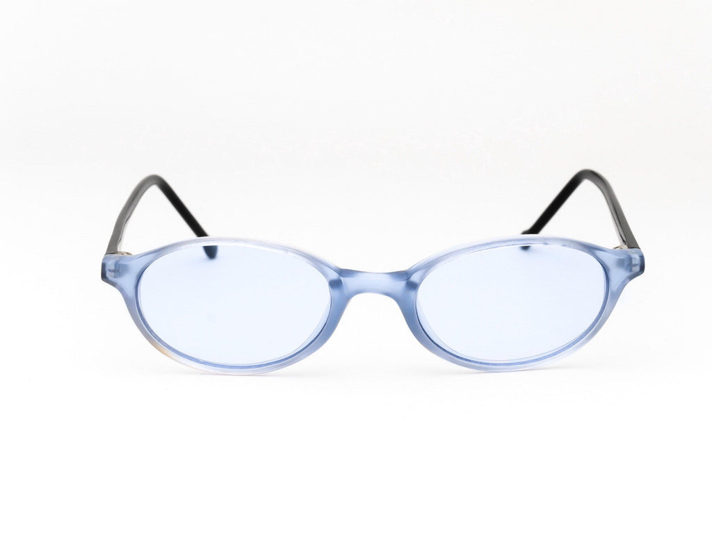 1990's Vintage Clear Blue Tinted Frame Slim Micro Oval Sunglasses