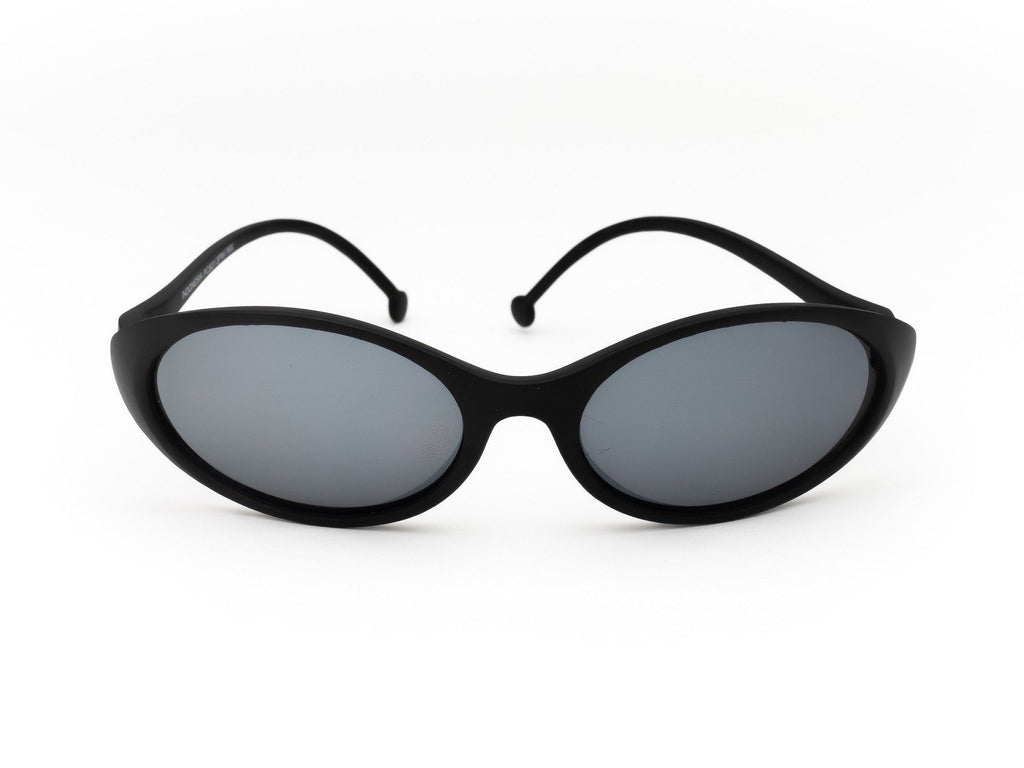 1990's Vintage Deadstock Black Mirrored Lens Oval Wrap Sunglasses