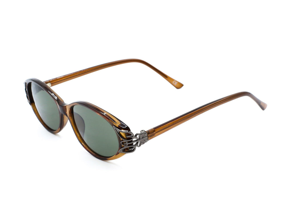 1990's Vintage Versace Inspired Brown Chunky Oval Sunglasses