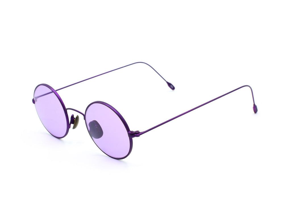 1990's Vintage Deadstock Purple Round Wire Frame Sunglasses