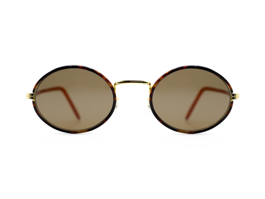 1980's Vintage Brown Tint Tortoise Metal Round Sunglasses