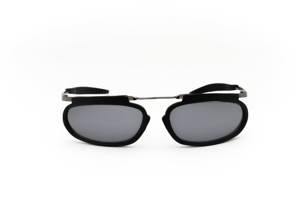 1990's Vintage Deadstock Funky Black Oval Wrap Sunglasses