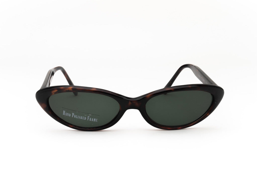 1990's Vintage Letty Ortiz Dark Tint Pointy Oval Sunglasses