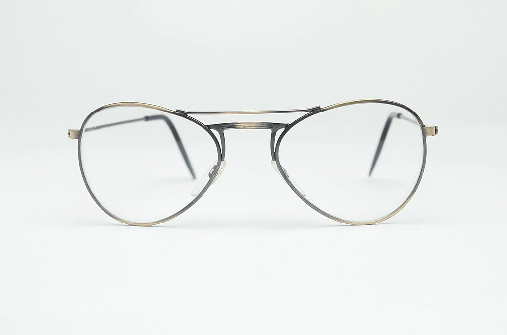 1980's Retro Non-Prescription Aviator Clear Lens Glasses