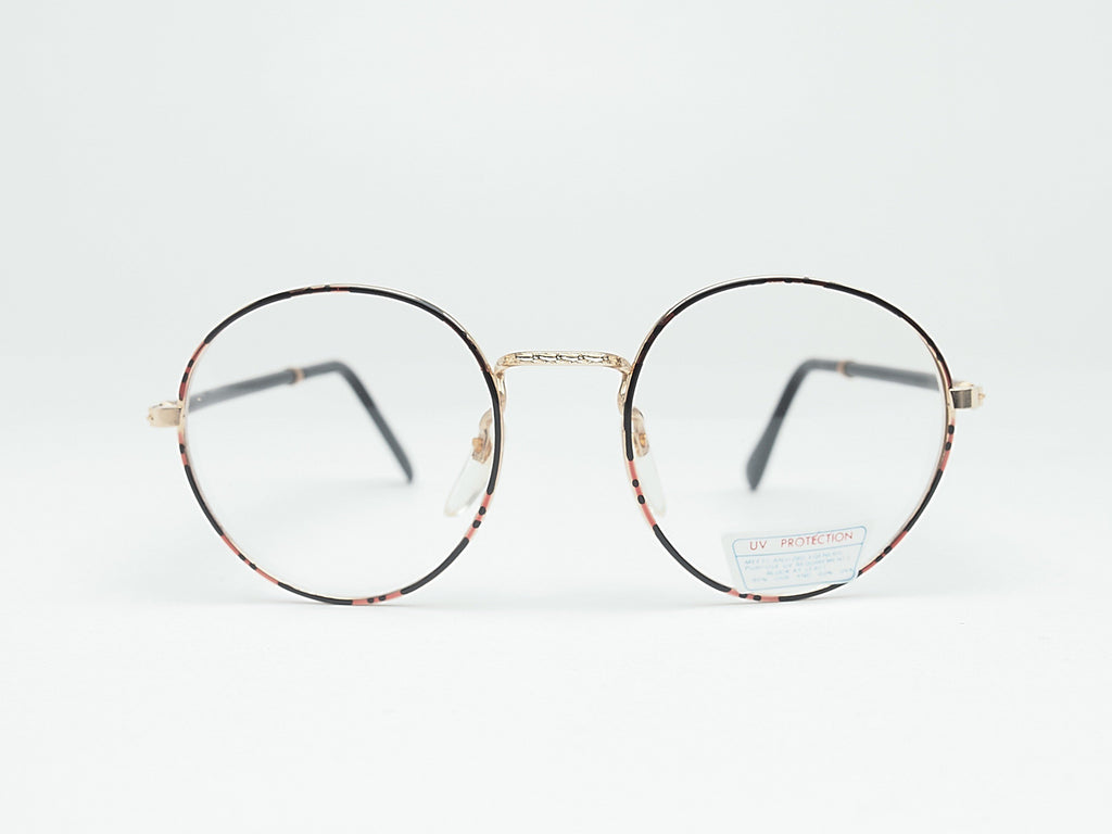 1980's Vintage Non-Prescription Tortoise Round Clear Lens Glasses