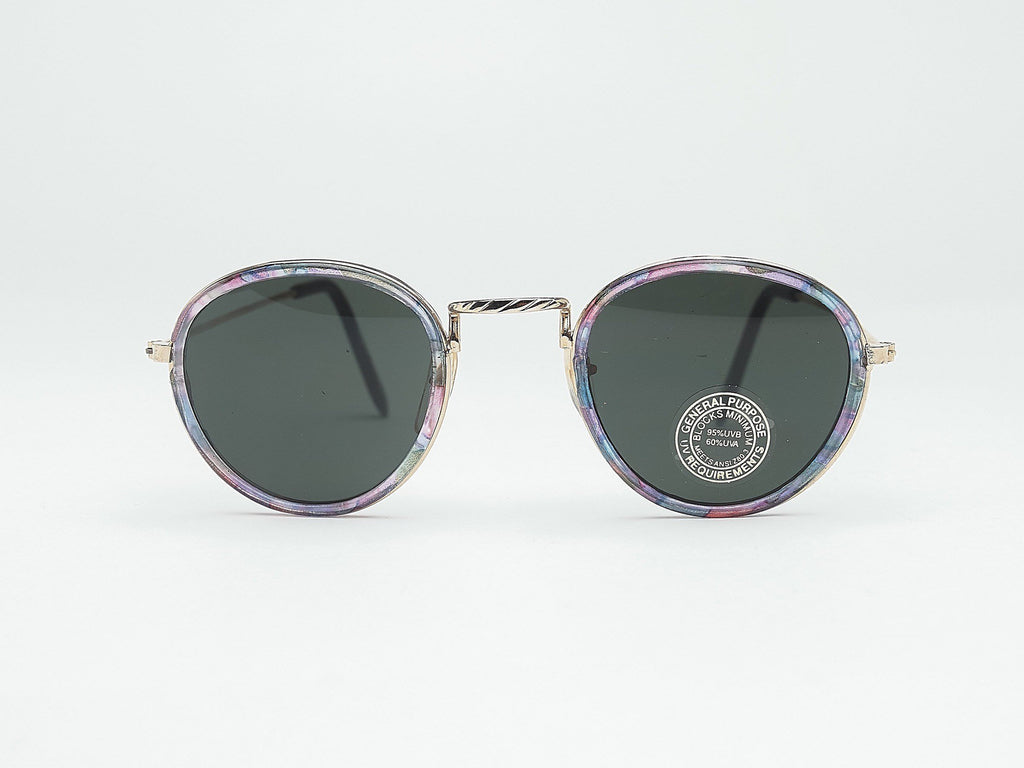1980's Vintage Rainbow Ridge Round Metal Sunglasses