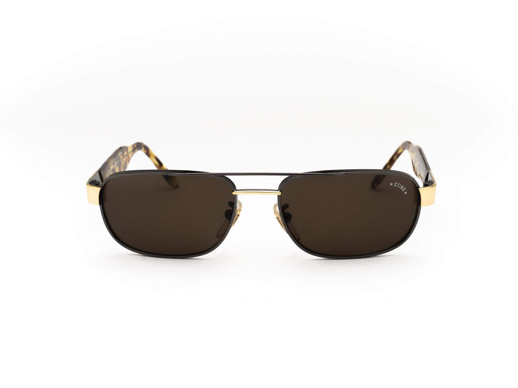 1980's Vintage Sting Brown Square Aviator Metal Tortoise Arm Sunglasses