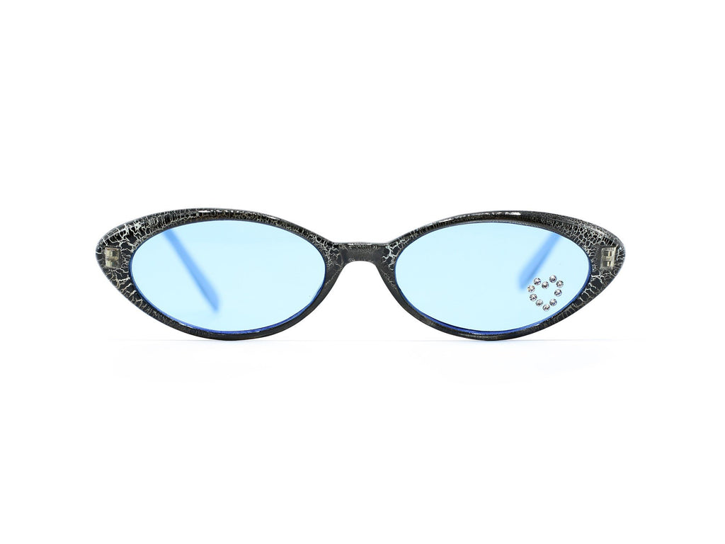 """Skyler"" 1990's Vintage Rhinestone Heart Slim Oval Cat Eye Sunglasses"