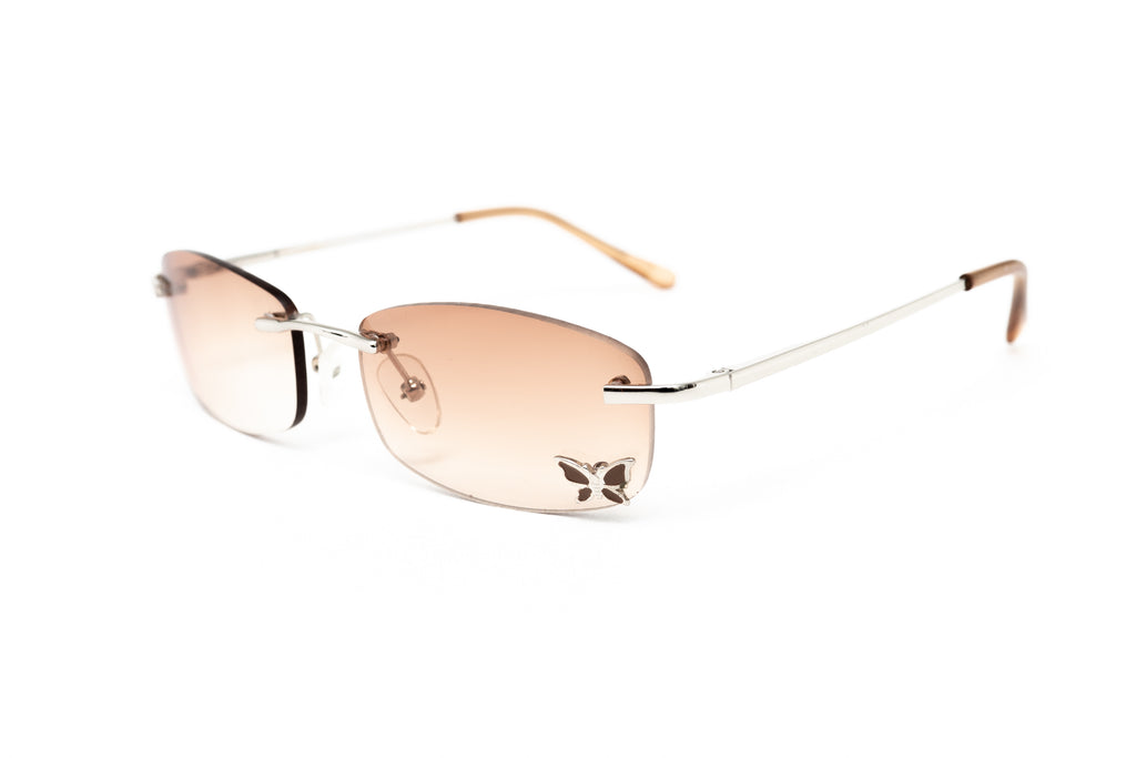 """Faith"" 2000's Vintage Y2K Butterfly Micro Rimless Rectangle Sunglasses"