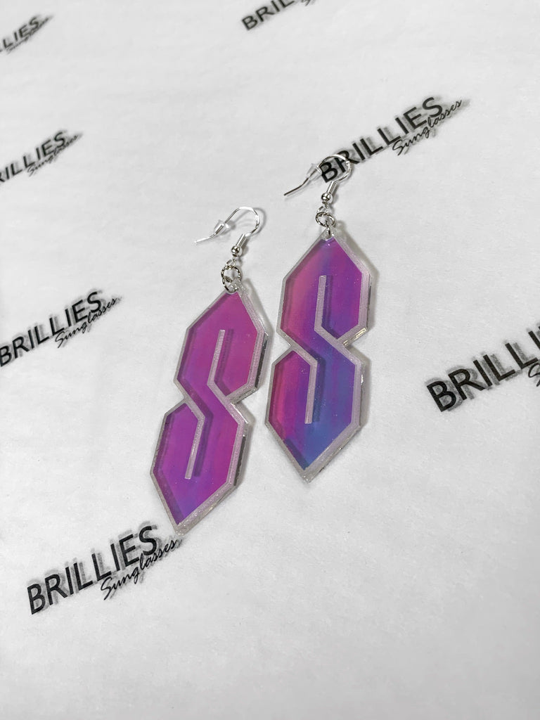 """Cool S"" Vintage 1990's Acrylic Drop Earrings"