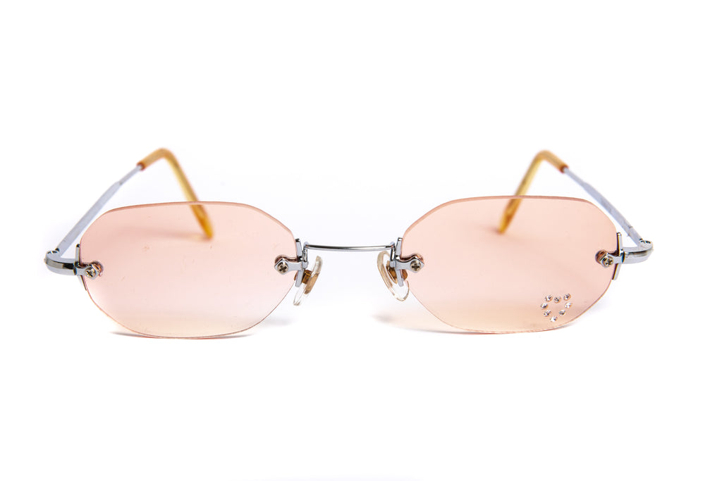 """Aries"" 2000's Y2K Vintage Rhinestone Heart Rimless Oval Sunglasses"