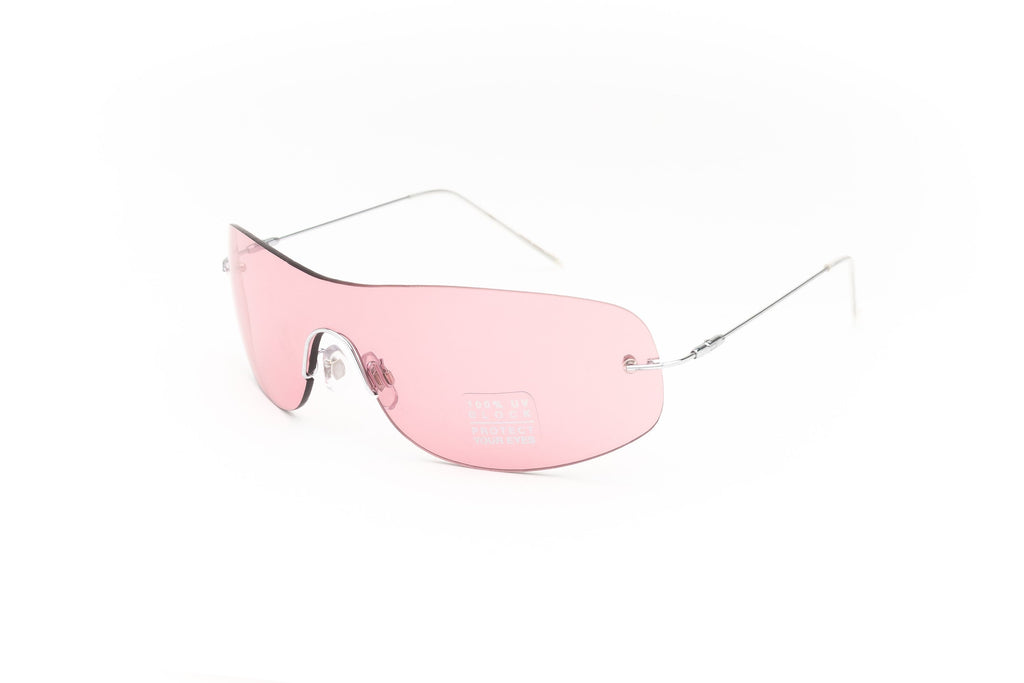 """Bono"" 2000's Y2K Vintage Rimless Shield Monolens Sunglasses"