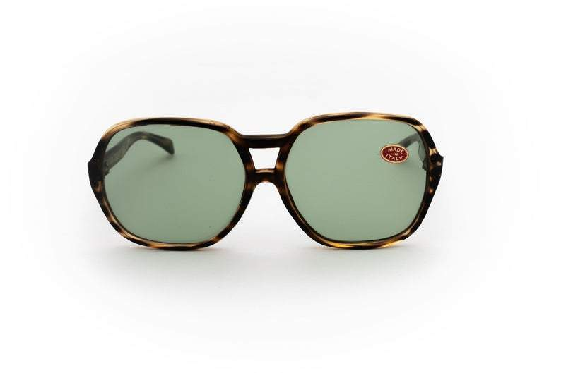 1980's Vintage Non-Prescription Green-Tint Tortoise Frame Oversized Round Glasses