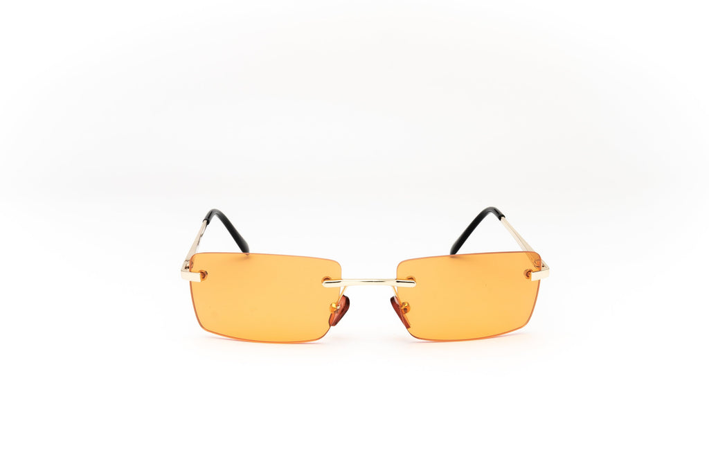 Y2K Vintage Rimless Square Tinted Metal Sunglasses