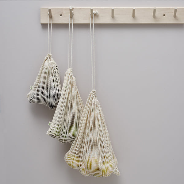 three organic cotton mesh netted produce drawstring bags