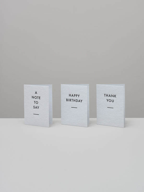 Set of three letterpress cards