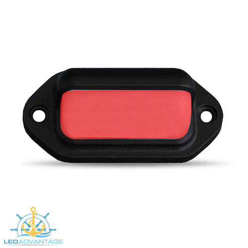 12v Black Waterproof Compact Surface Mount LED Courtesy Light (Red LED)