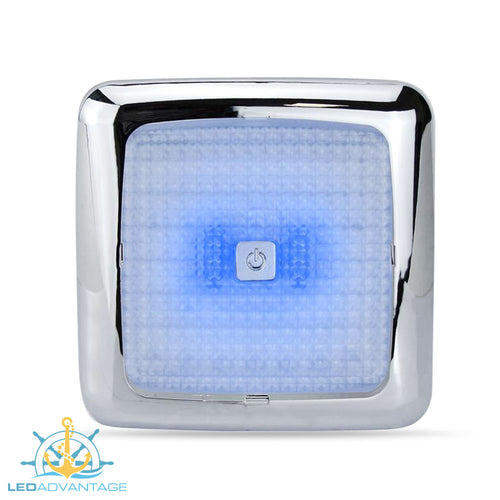 12v 7w Dual Blue/White LED Touch Cabin Ceiling Light & Dimmer (Chrome Housing)
