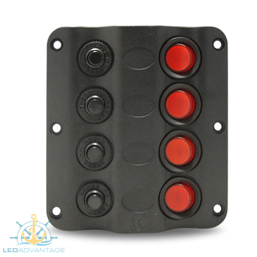 12v Wave 4 Gang LED Low Profile Switch Panel