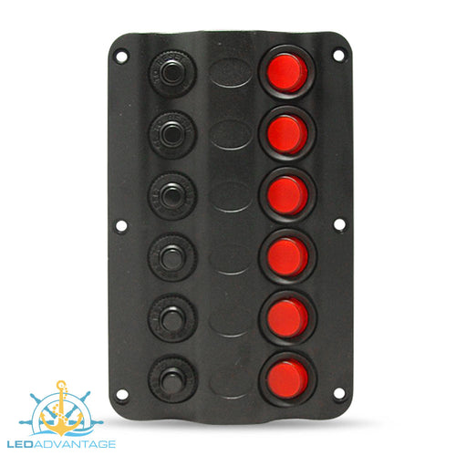 12v Wave 6 Gang LED Low Profile Switch Panel