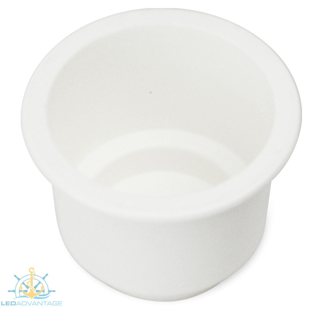 White Large Twin Size Recessed Drink Holder & Water Exit Drain
