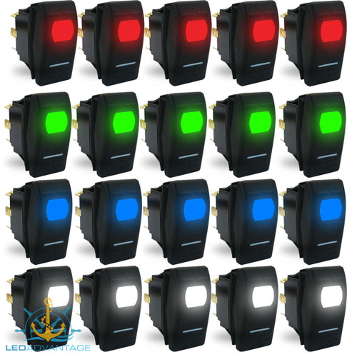 12v StarzLED Illuminated Rocker Switches - On/Off (5 Pack)
