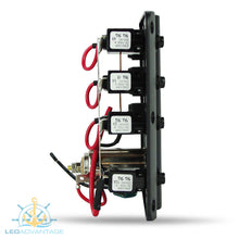 Load image into Gallery viewer, 12v Wave 3 Gang LED & Power Socket Low Profile Switch Panel