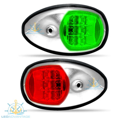 12v Stainless Steel Marine Sleek Style Port & Starboard LED Navigation Lights