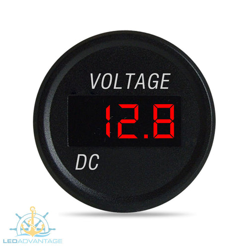 12V~24V Marine Flush Mount Battery Gauge Test Digital Voltmeter
