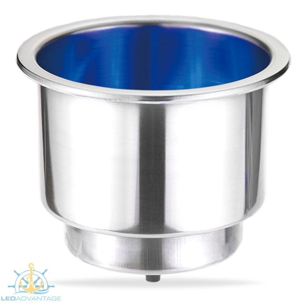 Stainless Steel Large Blue LED Polished Twin Size Recessed Drink Holder & Water Exit Drain